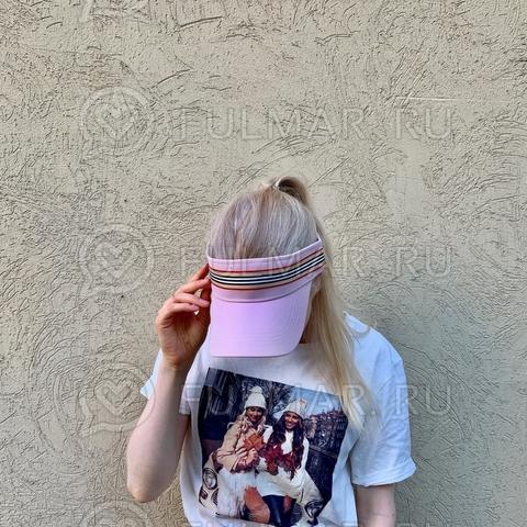 Козырёк от солнца на голову на липучке в полоску (цвет: Розовый)