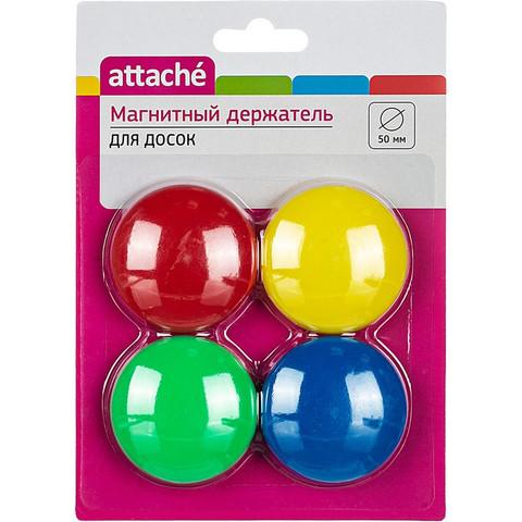 Магнитный держатель для досок в ассортименте Attache (диаметр 50 мм, 4 штуки в упаковке)