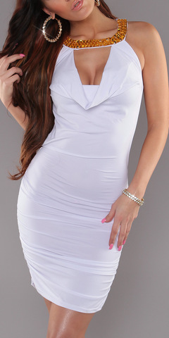 Платье с открытой спиной с цепочками, белое