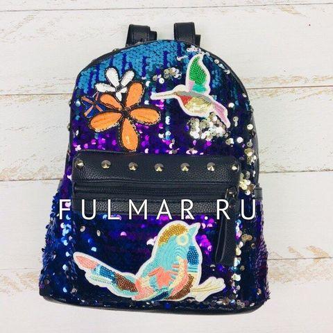 Рюкзак с пайетками и нашивками Фиолетово-Голубо-Серебристый хамелеон