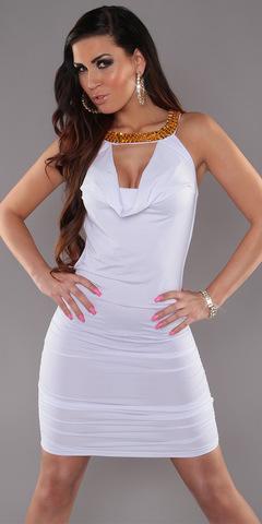 Платье с открытой спиной с цепочками, белое 1