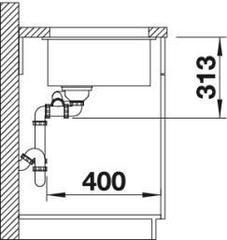 Схема Мойка Blanco Subline 340/160-U (вид сбоку)