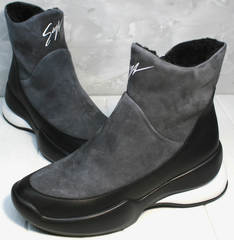 Женские зимние полусапожки на танкетке Jina 7195 Leather Black-Gray