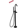 Напольный смеситель для ванны с душевым комплектом TZAR 348503DNM черный - фото №1