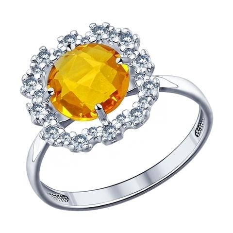 94011531- Кольцо из серебра с желтой стеклянной вставкой