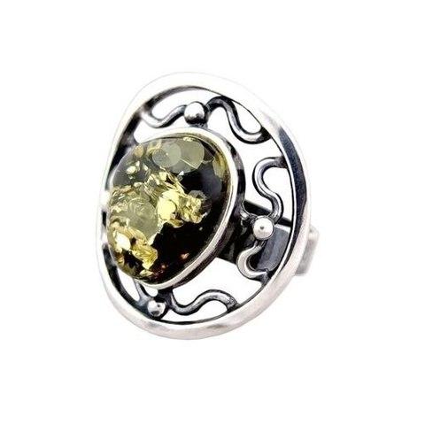 серебряное кольцо с зелёным янтарём_фото