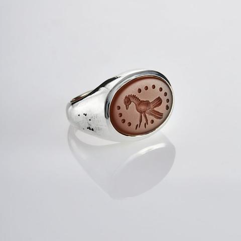 Кольцо-печатка с инталией 17 (сердолик, антик)