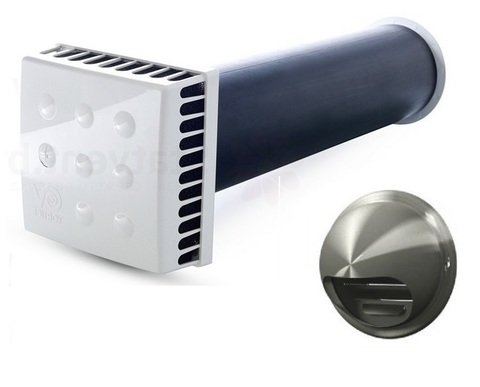 Приточный клапан KIV Quadro 125 1 м с выходом стенным из нержавеющей стали
