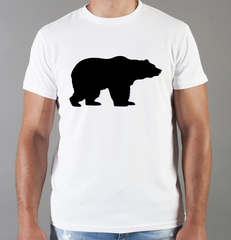 Футболка с принтом Медведь, Медвежонок (Bear) белая 004