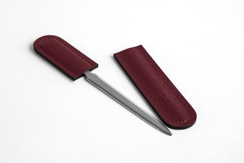Канцелярский нож с ножнами из кожи цвет БОРДО