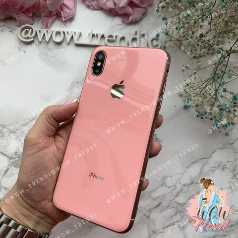 Чехол iPhone X/XS Glass Silicone Case Logo /pink/
