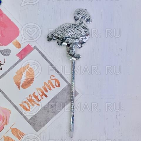 Ручка с пайетками Фламинго Серебристая-Зеркальная