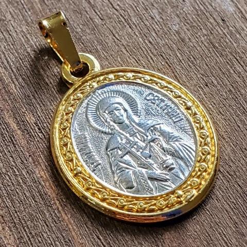 Нательная именная икона святая Татьяна с позолотой кулон медальон с молитвой