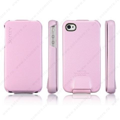 Чехол-флип SGP для Apple iPhone 4 - SGP Leather Case Argos Series Pink