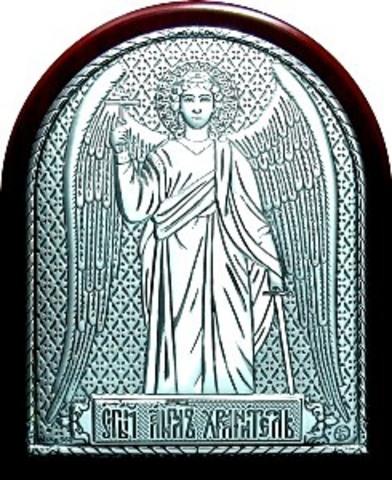 Серебряная икона Ангела Хранителя 8,5х7см