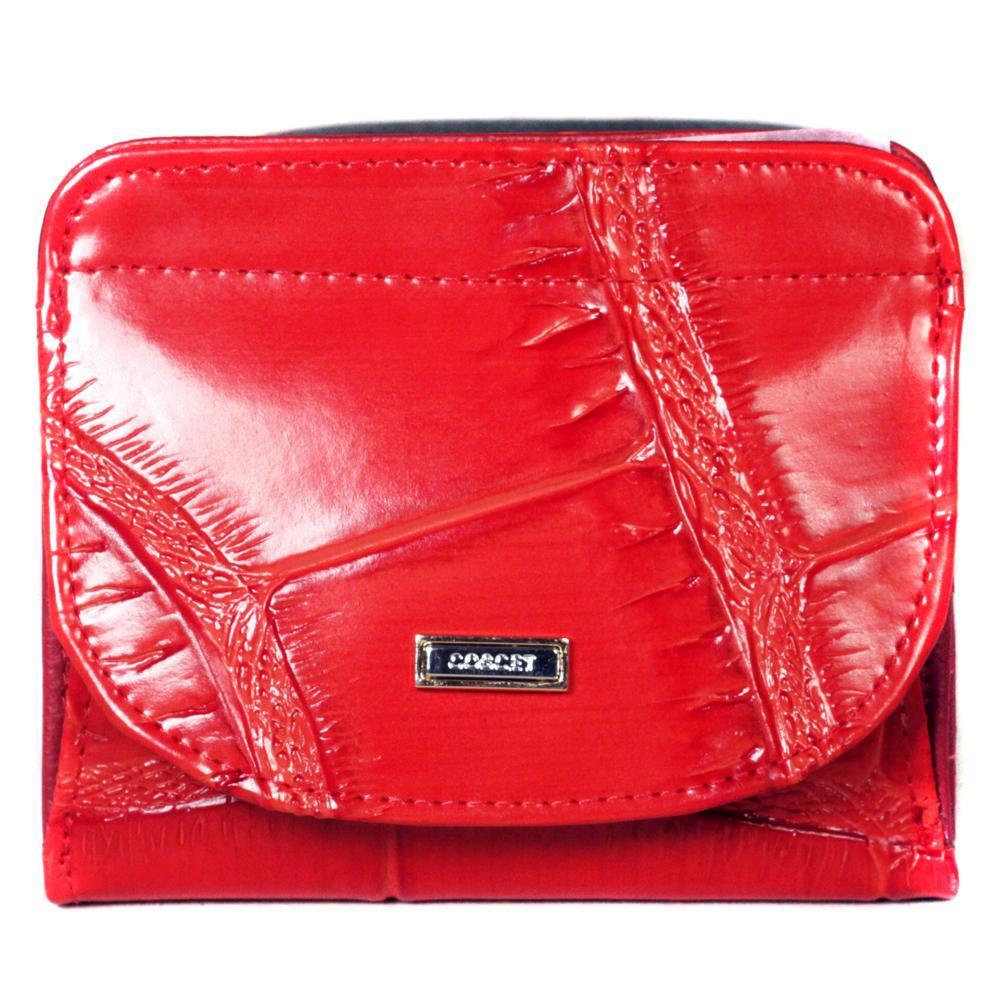 Маленький кошелёк красный женский Coscet нат.кожа CS25-109B