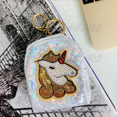 Брелок-кошелек голографический Волшебный Единорог Белый