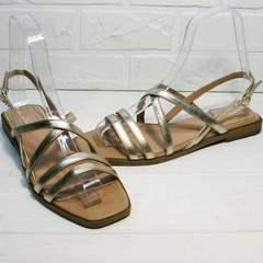 Кожаные сандалии женские с квадратным носом Wollen M.20237D ZS Gold.