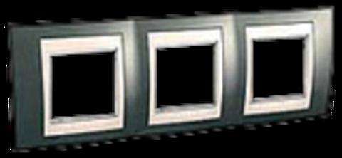Рамка на 3 поста. Цвет Шампань/Бежевый. Schneider electric Unica Хамелеон. MGU6.006.524