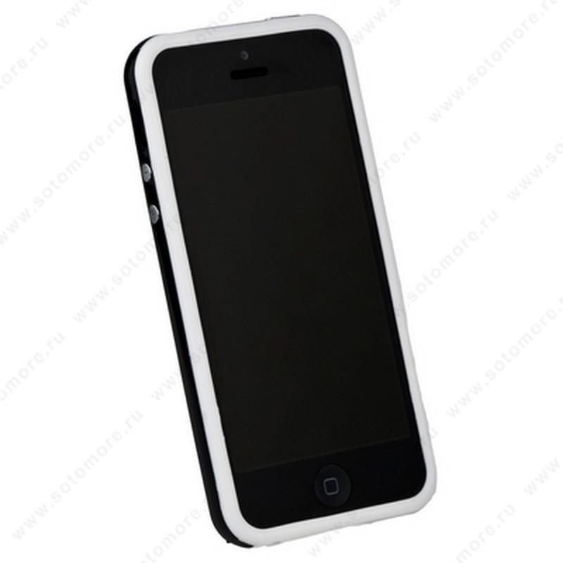 Бампер для iPhone SE/ 5s/ 5C/ 5 белый с черной полосой