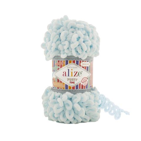 Купить Пряжа Ализе Пуффи Файн Код цвета 522 Светло-голубой | Интернет-магазин пряжи «Пряха»