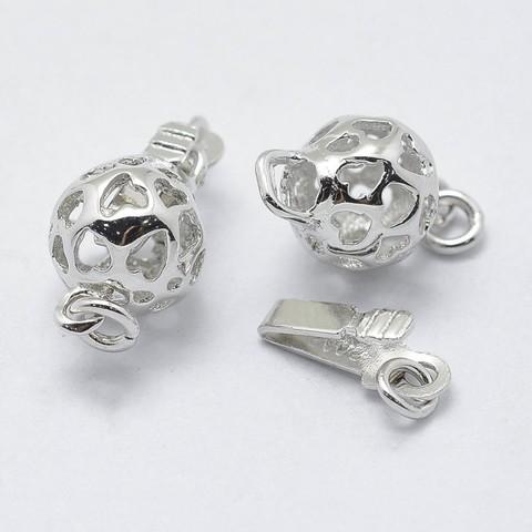 Замочек для бус круглый 15х7,5 мм серебро 925 1 шт