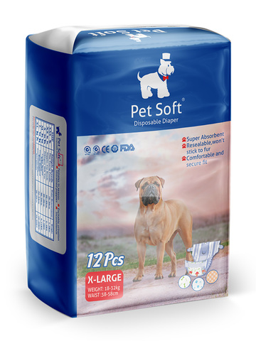 Pet Soft одноразовые впитывающие подгузники для животных (размер XL) 12 штук