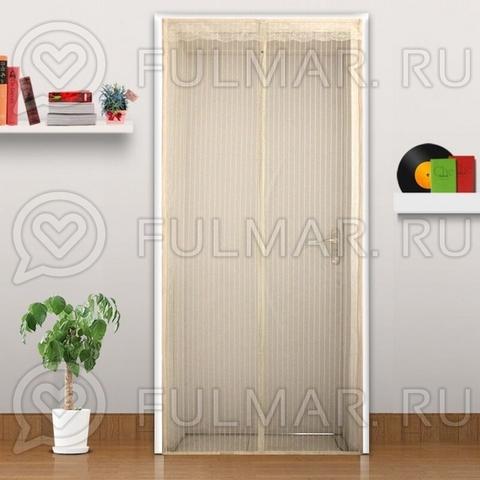 Дверная антимоскитная сетка на магнитных полосах и магнитах 90х210 см Бежевая