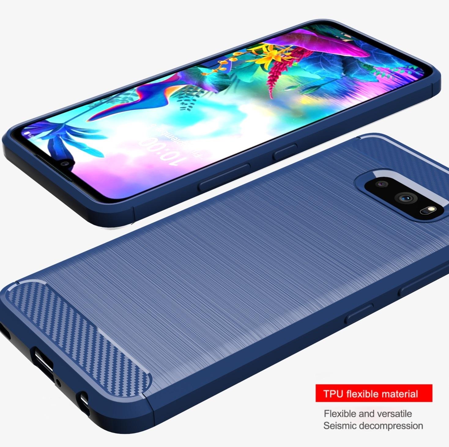 Чехол LG V50S (G8X) цвет Blue (синий), серия Carbon, Caseport