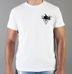 Футболка с принтом НХЛ Сан-Хосе Шаркс (NHL San Jose Sharks) белая 0018