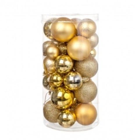 Набор шаров 36шт. (пластик), D3-5см, цвет: золото