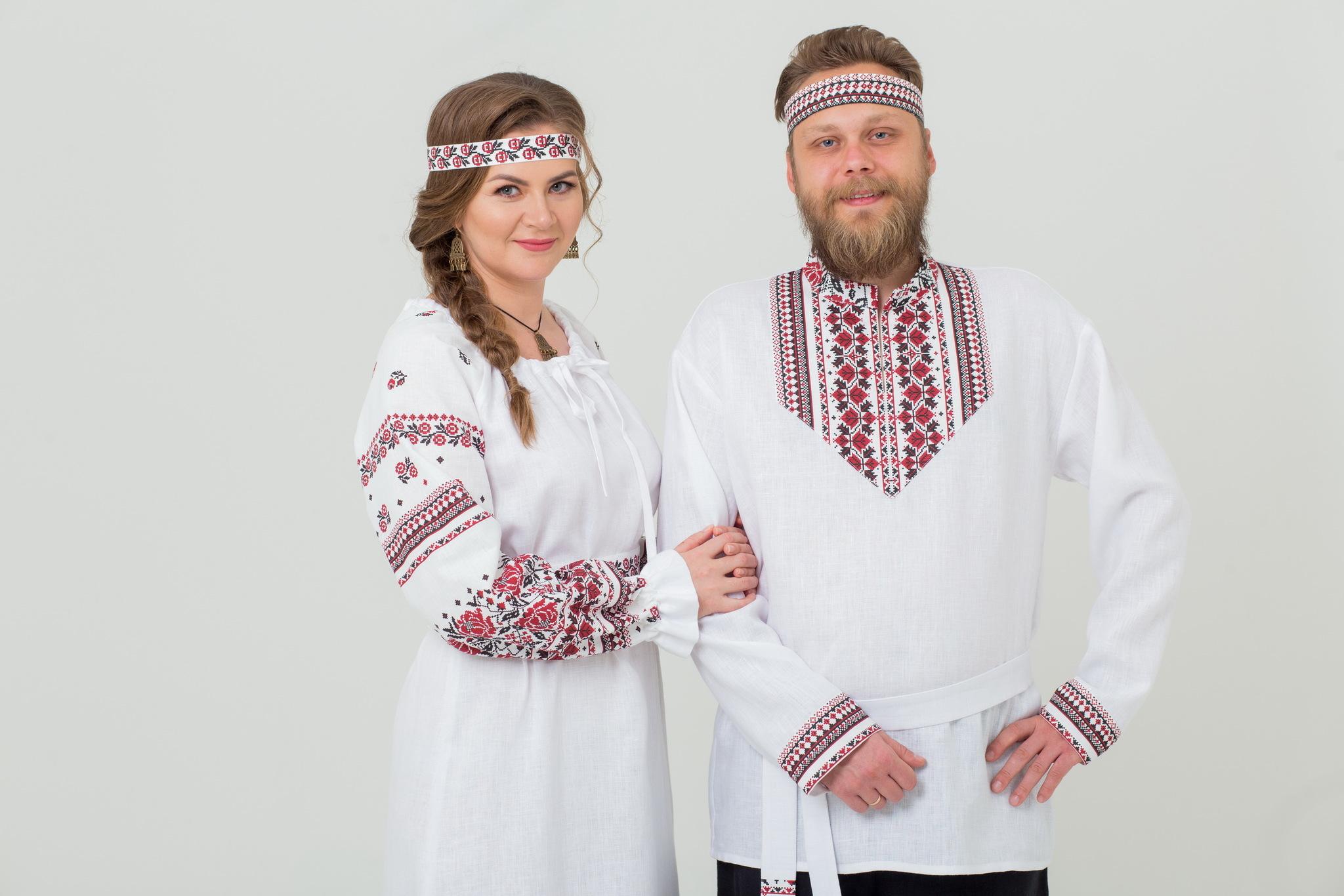 Платье льняное Женское счастье и Рубаха льняная Мужская сила комплект