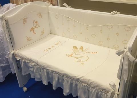 Бампер в кроватку для новорожденного «Аист»