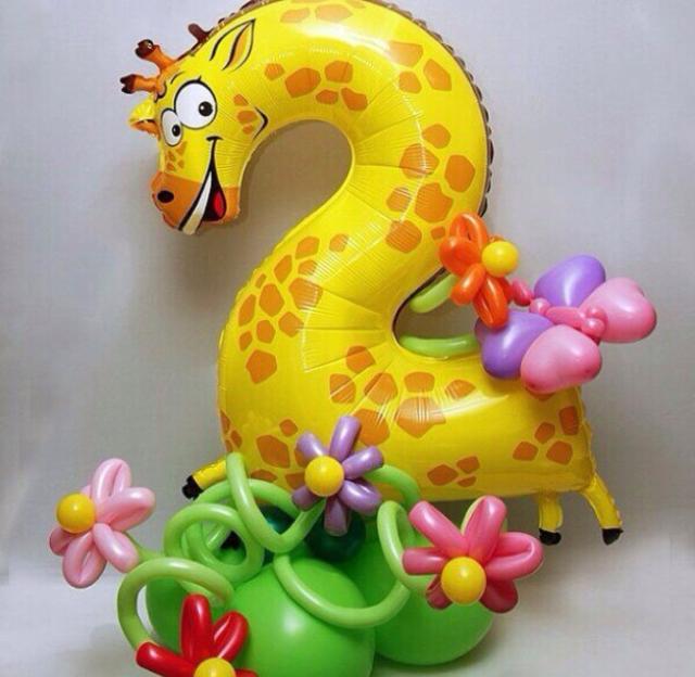 Шар цифра 2 жираф (фото 2)