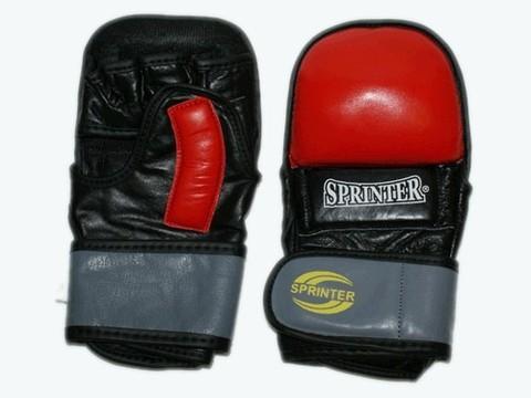 Накладки для рукопашного боя кожа SPRINTER. Гелевые. Цвет красный, желтый.  размер L. :(460-461 L):