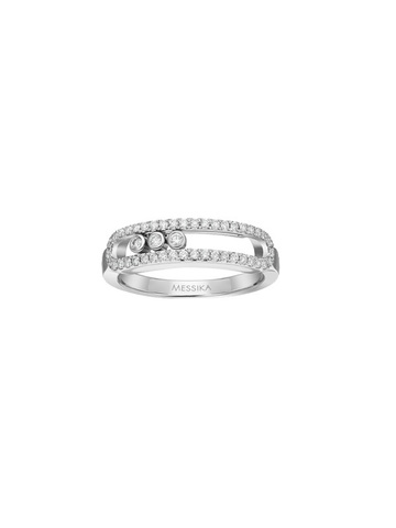 Кольцо Move из серебра с двигающимися  цирконами