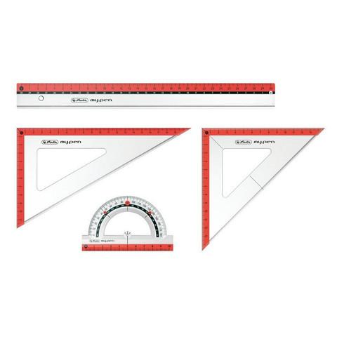 Набор чертежный средний: (линейка 30 см, угольники 13 и 19 см, транспортир 10 см)