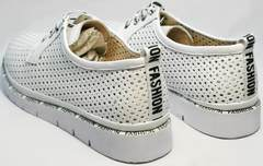 Модные белые туфли без каблука женские летние GUERO G177-63 White.