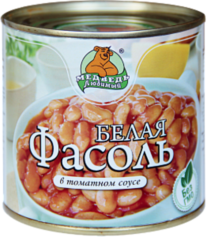 """Фасоль """"Медведь любимый"""" белая в томатном соусе 425 мл"""