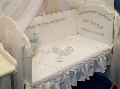 Бампер в кроватку для новорожденного «Коляска»