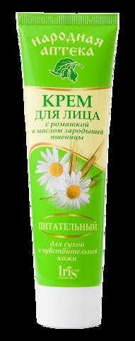 Iris Народная аптека Крем для лица для сухой и чувствительной кожи с ромашкой и маслом зародышей пшеницы 100мл