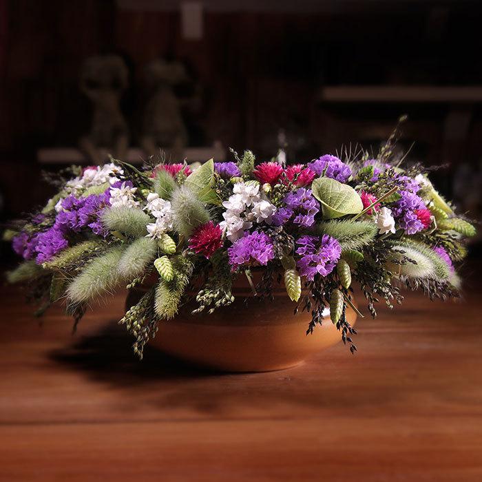 Декор интерьерная композиция из сухоцветов фиолетовый багровый зеленый заказать в Перми