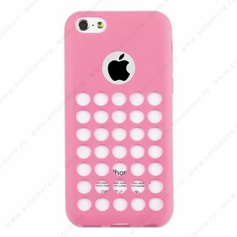 Накладка силиконовый TPU для Apple iPhone 5C с перфорацией розовый