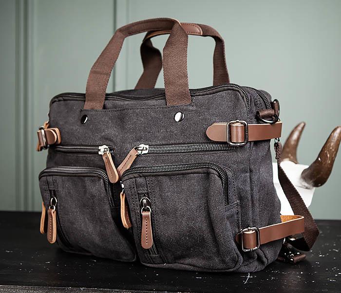 BAG475-1 Мужская сумка рюкзак «трансформер» из ткани фото 06