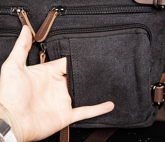 BAG475-1 Мужская сумка рюкзак «трансформер» из ткани фото 08