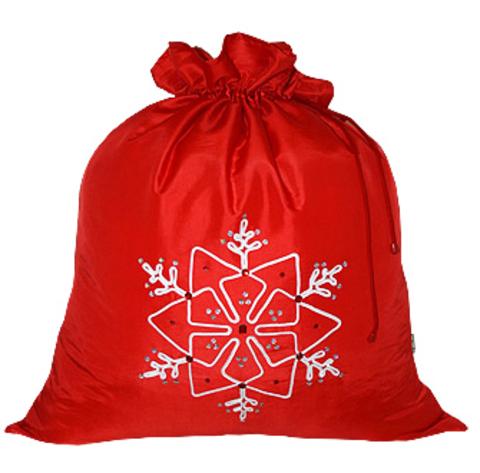 Подарочный мешок Снежинка красный