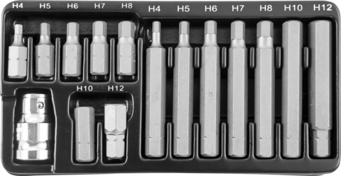 S29H4115S Набор вставок-бит 10 мм DR шестигранных с переходником, 15 предметов
