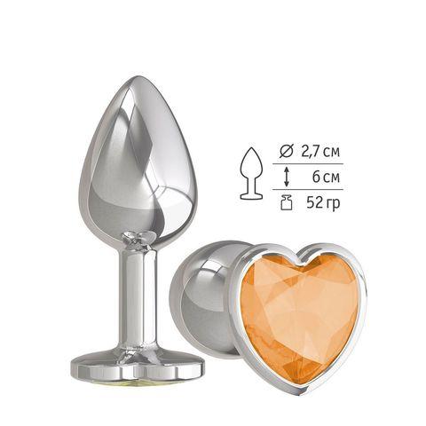 Серебристая анальная втулка с оранжевым кристаллом-сердцем - 7 см.