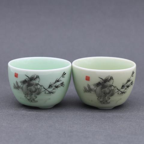 Чашка с китайцем, фарфор, 80мл