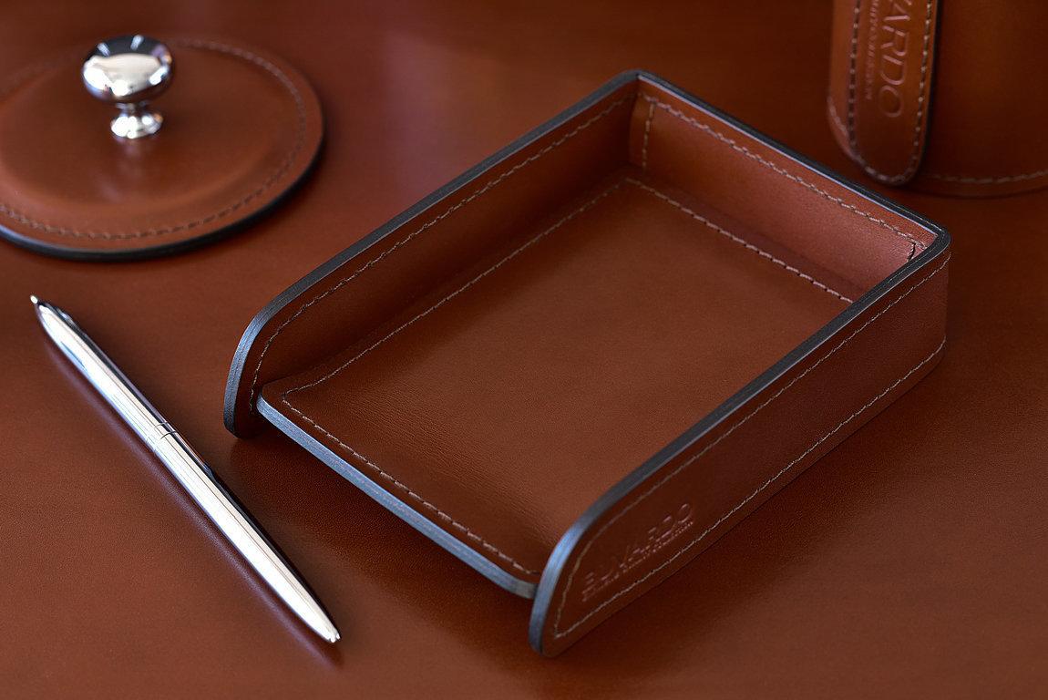 Лоток А6 горизонтальный BUVARDO LUX из кожи Full Grain Toscana Tan